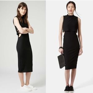 TOPSHOP Black Bodycon Midi Dress Cutouts